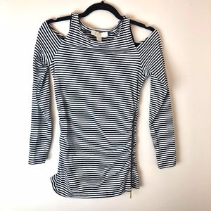 Michael Kors | Black & White Striped Cold Shoulder